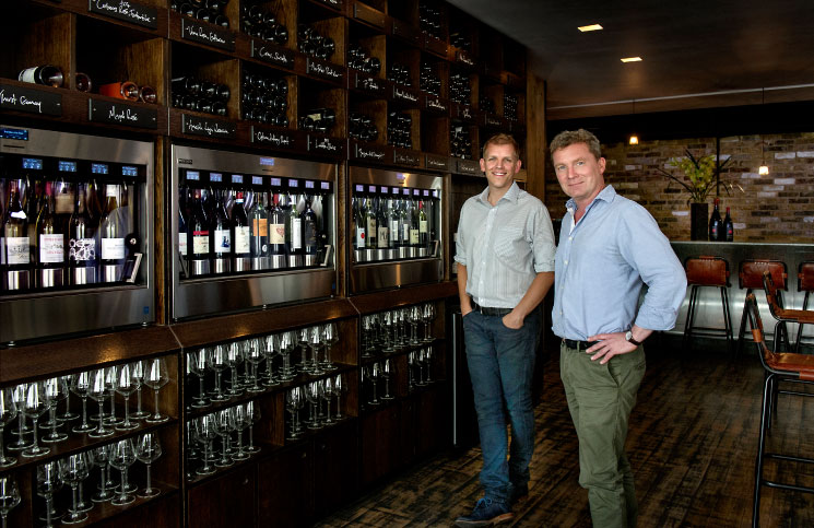 Richard Okroj, left, and Thor Gudmundsson in the third of their Wine Rooms