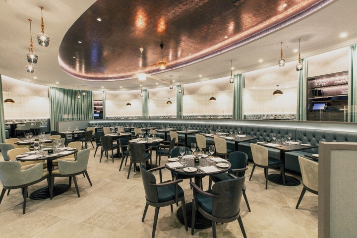 The main dining room at M in Victoria is designed to look like a theatre stage to represent the full night out experience