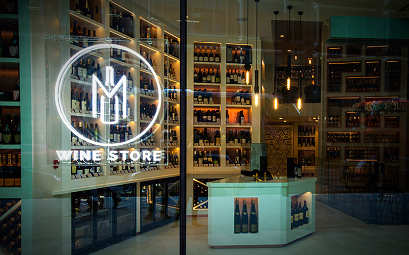 The M Wine Store is the first thing customers see when visiting M at Victoria