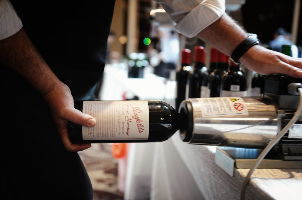 Does what it says on the tin: re-corking a bottle of Grange