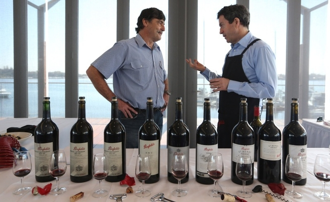 Peter Gago at a Perth wine clinic with a Penfolds customer. Credit: Sharon Smith, The West Australian