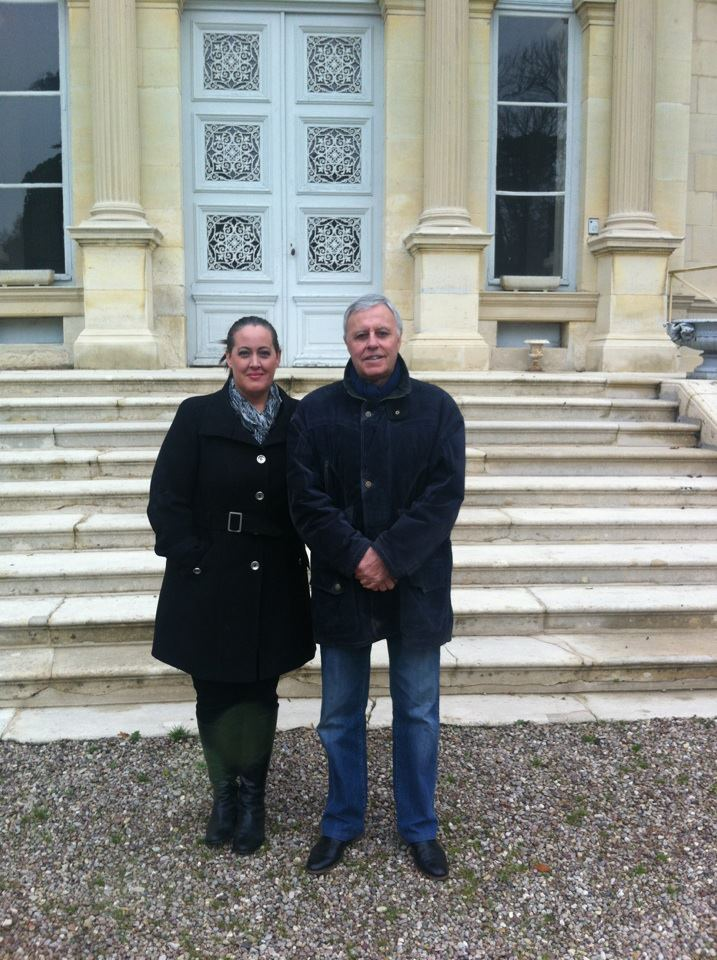 Georges and Victoria on the road at Chateau de Boursault in Champagne