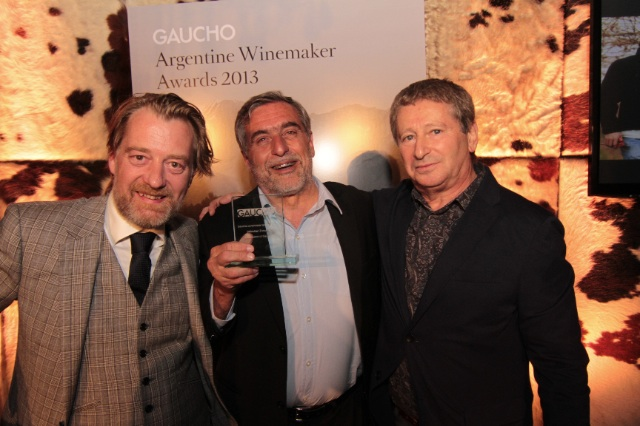 Crozier with award winning Sebastian Zuccardi and the Indpendent's Anthony Rose at the Gaucho Argentine Winemaker awards