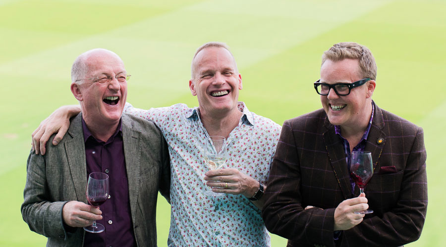 Oz Clarke and his Three Wine Men partners, Tim Atkin MW and Olly Smith and not a spittoon in sight.