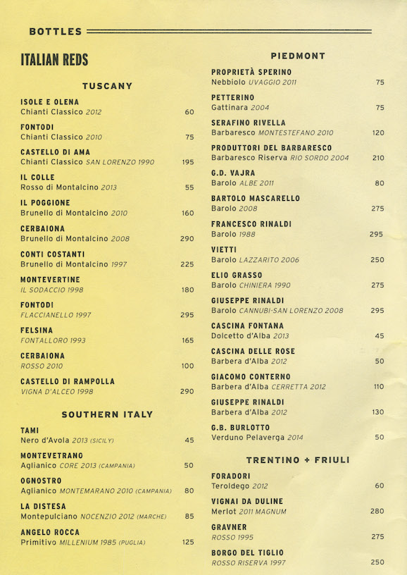 Perfect wine list