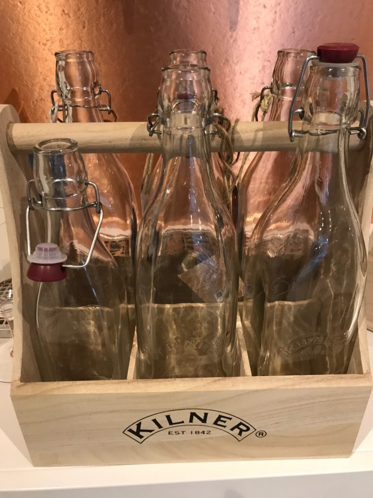 The distinctive Kilner bottles used for M's wines by the tap