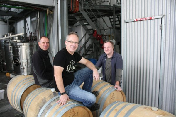 Giles Cooke and the rest of the Thistledown Wines' team with Peter Leske, winemaker and Alliance's Fergal Tynan MW