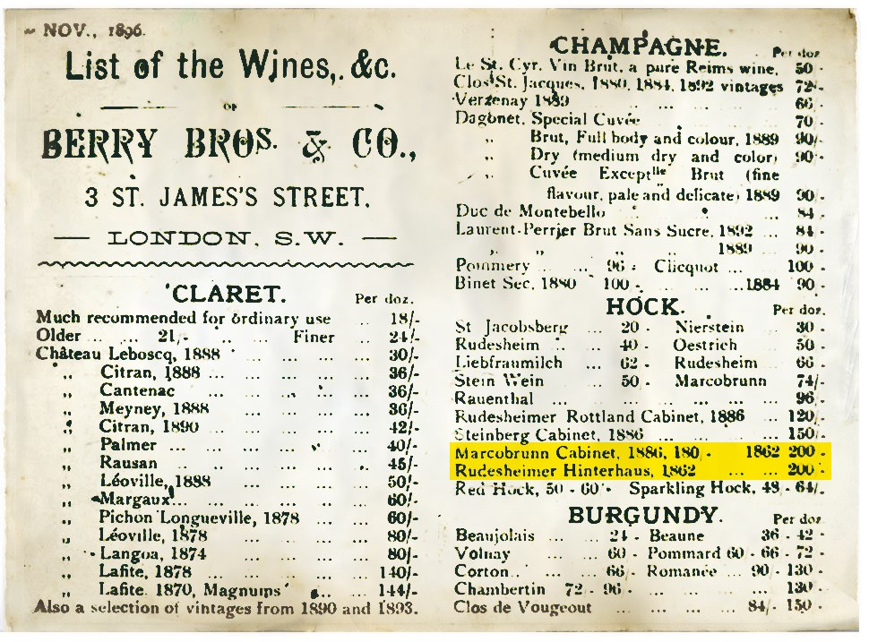 Point of record: Berry's wine lists are as much historical as a reflection of what wines were being bought and sold