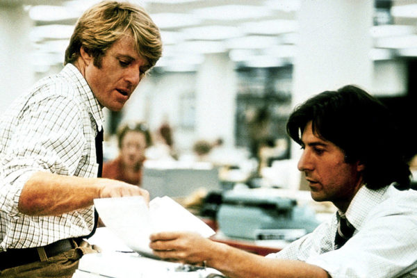 All the President's Men (1976) Directed by Alan J. Pakula Shown from left: Robert Redford (as Bob Woodward), Dustin Hoffman (as Carl Bernstein)