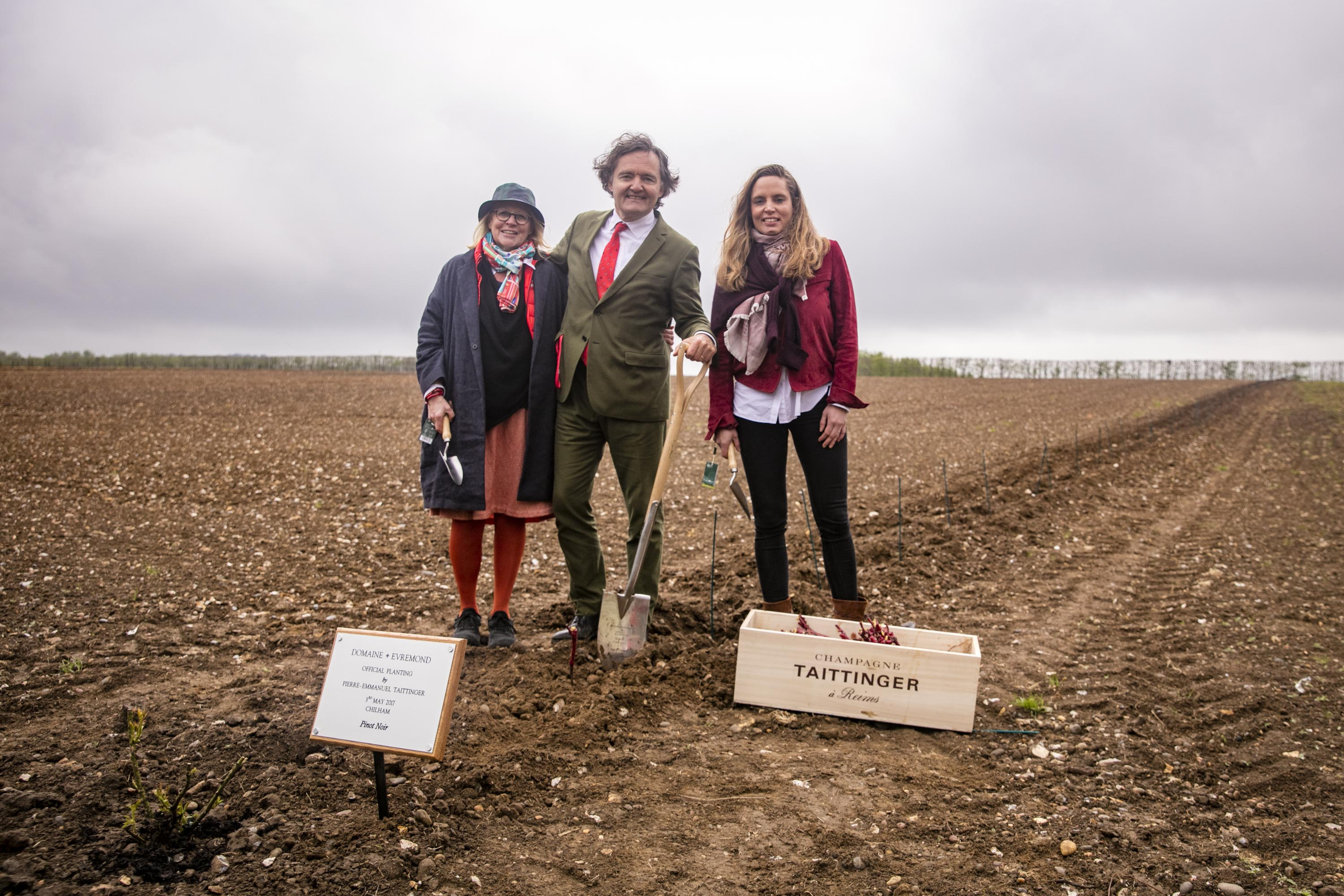 Historic moment in English Sparkling Wine making history as Pierre Emmanuel Taittinger, Claire Taittinger and Vitalie Taittinger plant the first vines at Domaine Evremond in Kent.