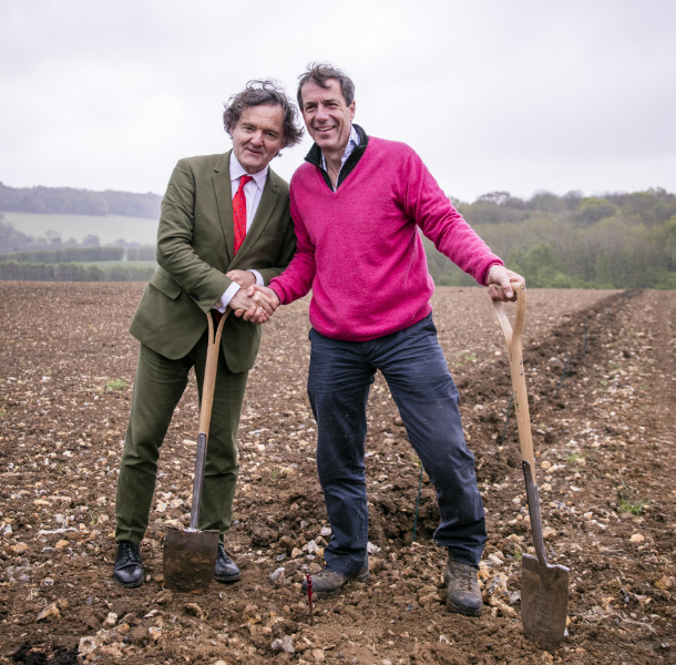 Pierre-Emmanuel Taittinger and Hatch Mansfield's Patrick McGrath planting the first vines at Domaine Evremond