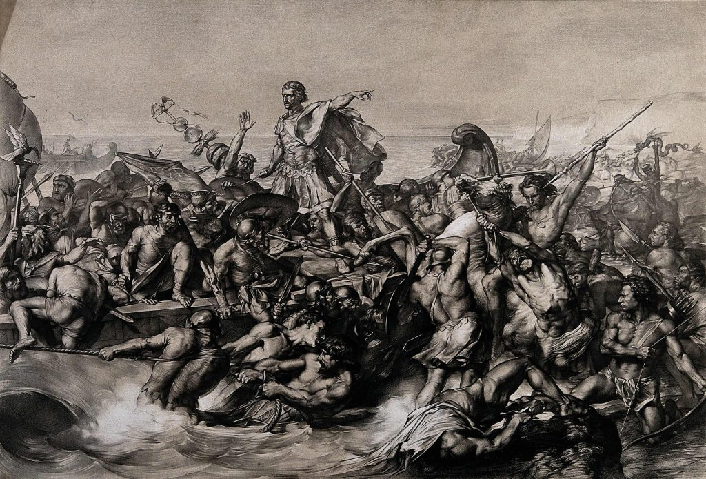 Whatever the Romans ever done for us? Well they first brought beer in Julius Caesar's first invasion of Britain in 54 BC Credit: Wellcome Library, London. Lithograph by W. Linnell after E. Armitage. By: Edward Armitageafter: William LinnellPublished: -