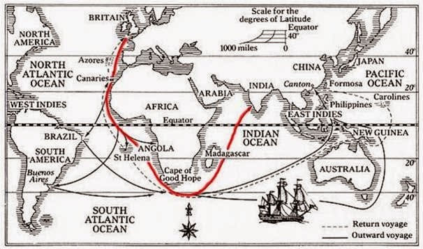 The map says it all: India Pale Ale would take up to six months to get its destination