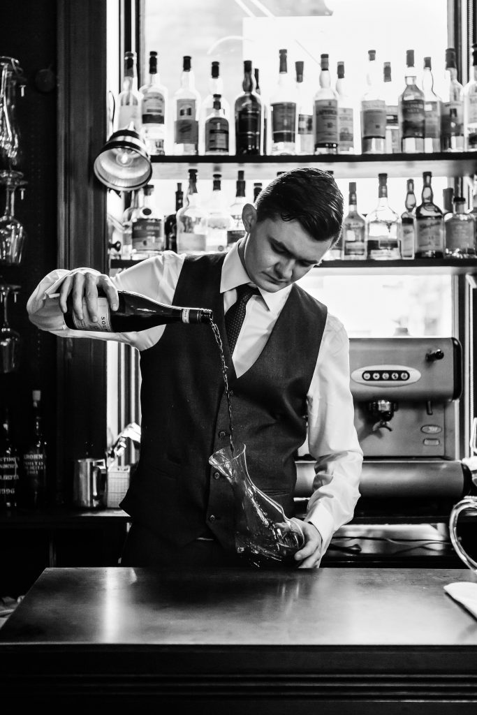 Jack Dickinson, Mark Greenaway's young sommelier, at the restaurant's bar