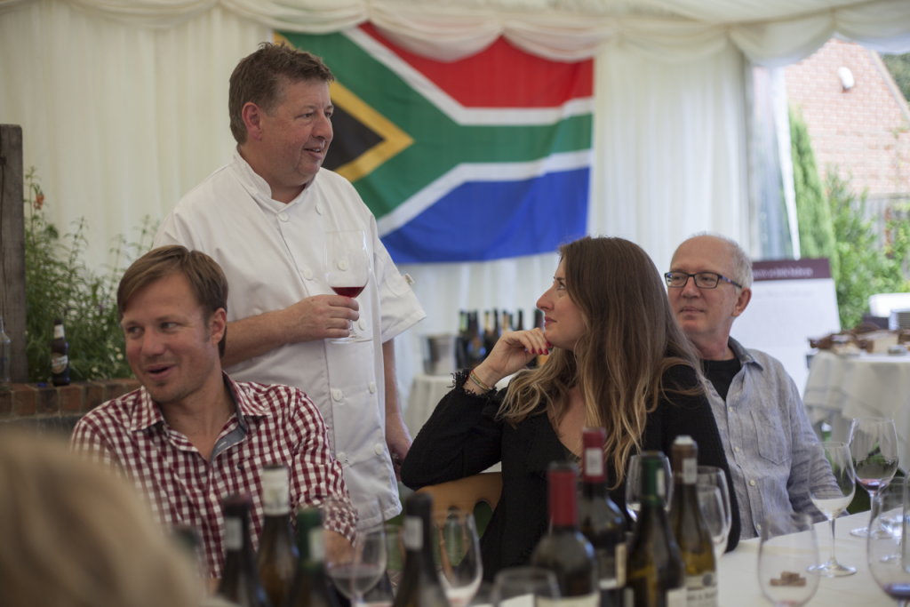 Roger Jones at his Tri Nations dinner supporting and promoting South African wines