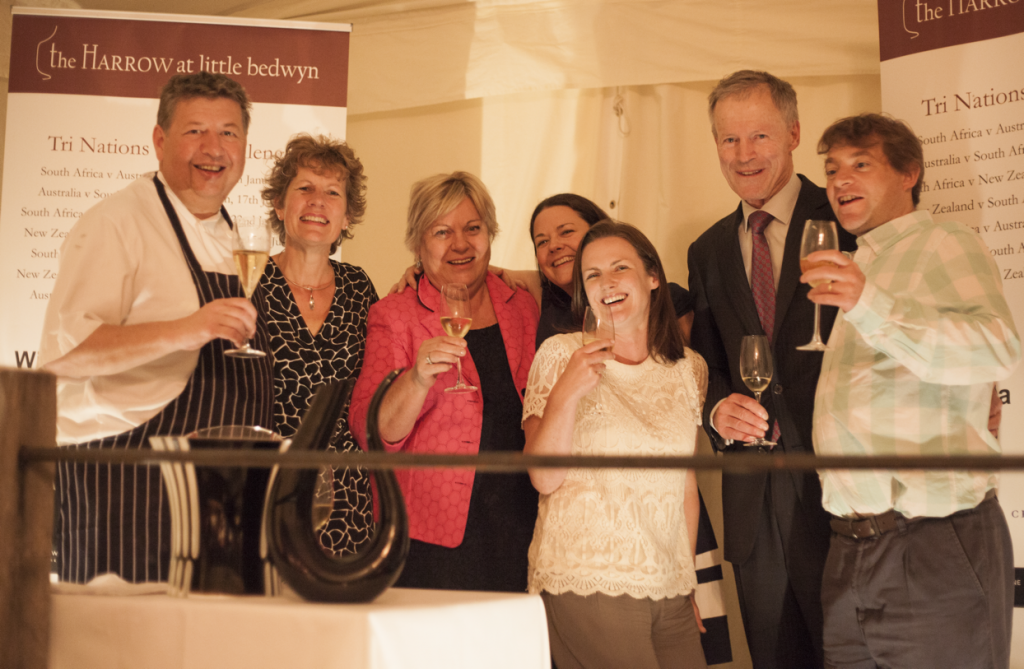 Roger and Sue Jones celebrating at last year's Tri Nations dinner with Wines of South Africa and New Zealand Wines