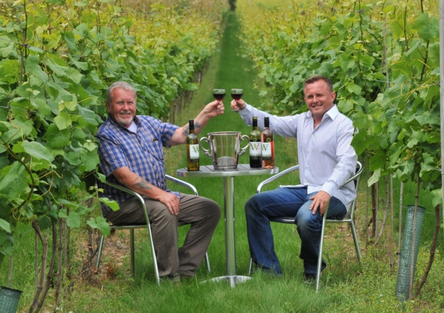 Steve and Lee Dyer celebrate their amazing wine for their English wine in the Decanter awards