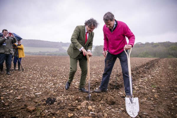 Historic moment in English Sparkling Wine making history as Pierre Emmanuel Taittinger and Patrick McGrath MW of Hatch Mansfield plant their first vines at Domaine Evremond in Kent.