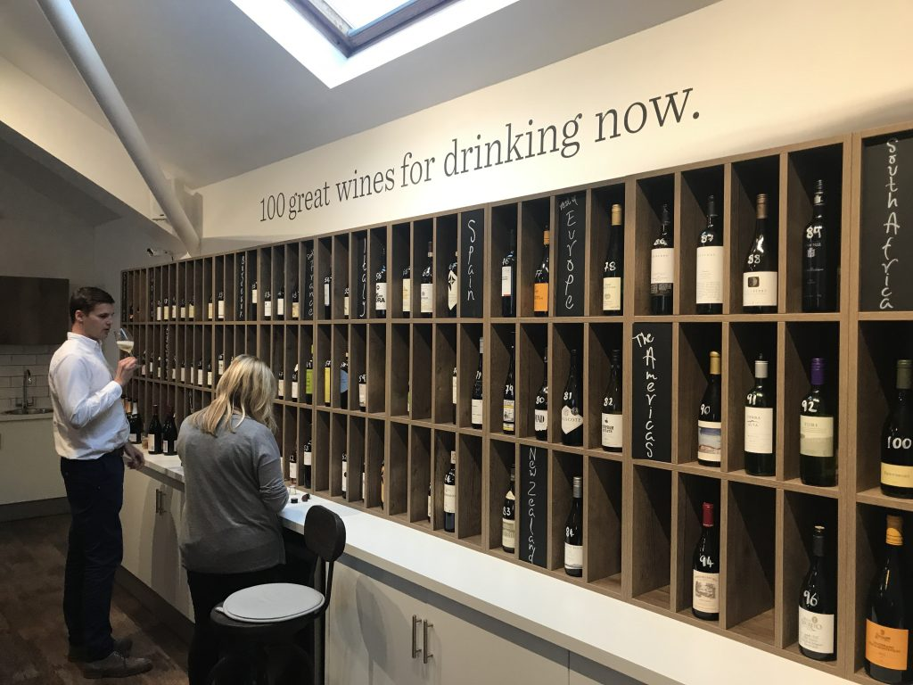 The Vintner's tasting room is also a showcase for its wine offer - which only ever lists 100 wines suitable for drinking now