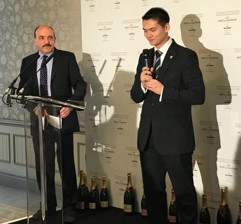 Gerard Basset introduces Mathias Camilleri, head sommelier of Five Fields, who is Moët UK Sommelier of the Year 2017.