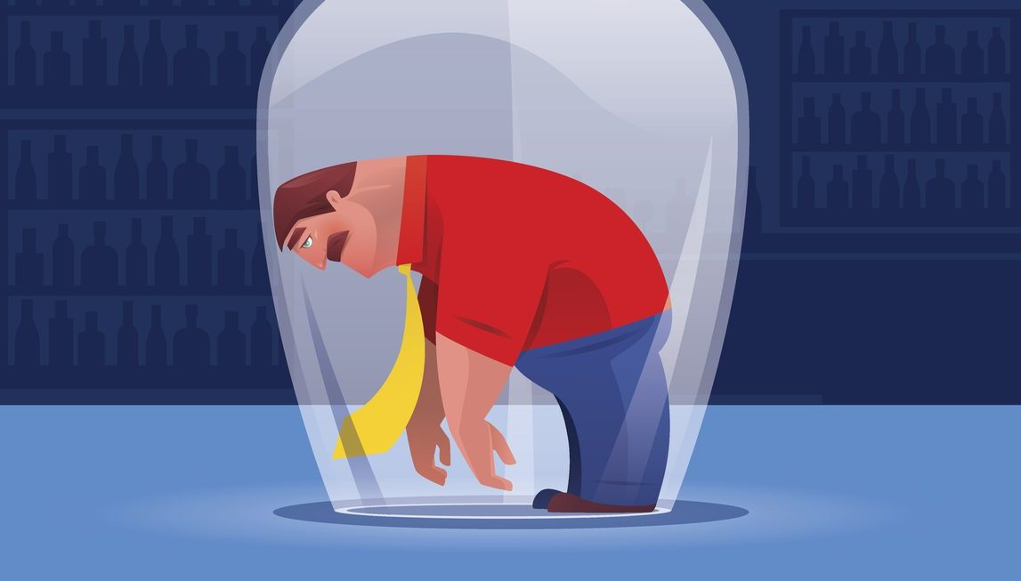 vector illustration of sad businessman heading on drinking glass