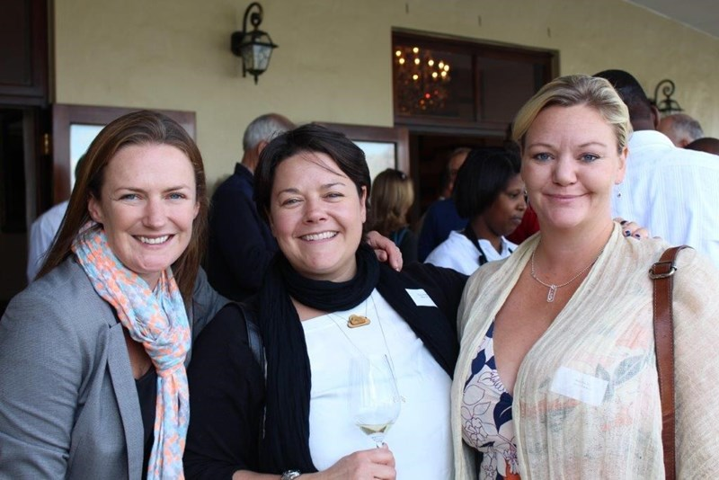 Jo Wehring and Claudia Pritchard of Wines of South Africa with Maja Berthas, head of WOSA Sweden
