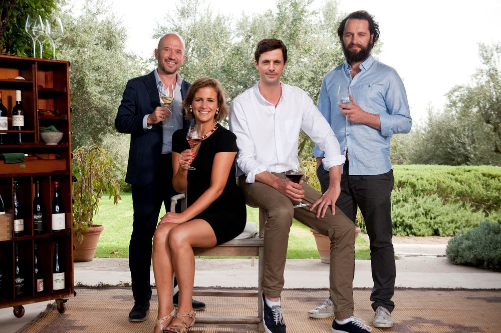 Coming to ITV (again) soon. The Wine Show presenters with Joe Fattorini and Amelia Singer from the world of wine and Matthew Goode and Matthew Rhys from world of acting