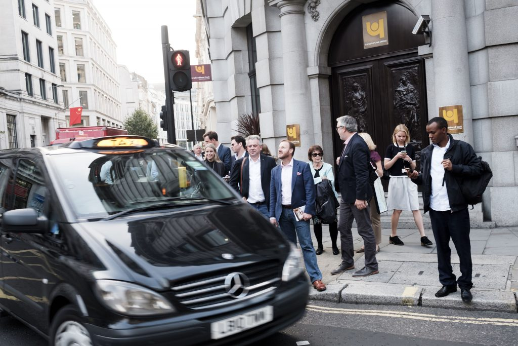 No need for a cab...it's walking distance from Hawskmoor Guildhall to M Threadneedle Street