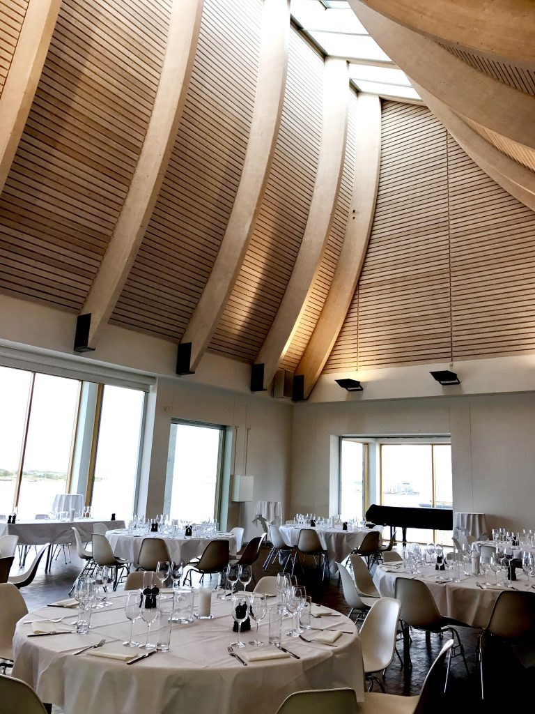 The setting for Bruce Jacks wine dinner in Denmarks Utzon Centre designed by the same architect behind the Sydney Opera House