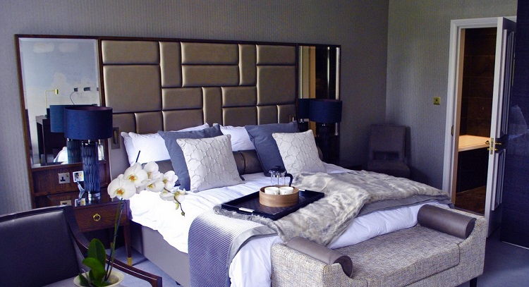 One of the four luxurious bedrooms at the hotel, inspired by Zonin's Italian estates