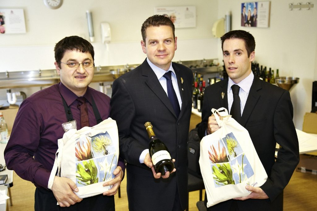 The 2010 winner Alan Holmes, Chewton Glen, Hampshire and finalists Yohann Jousselin, The Vineyard at Stockcross, Berkshire and Philippe Moranges, Hakkasan, London