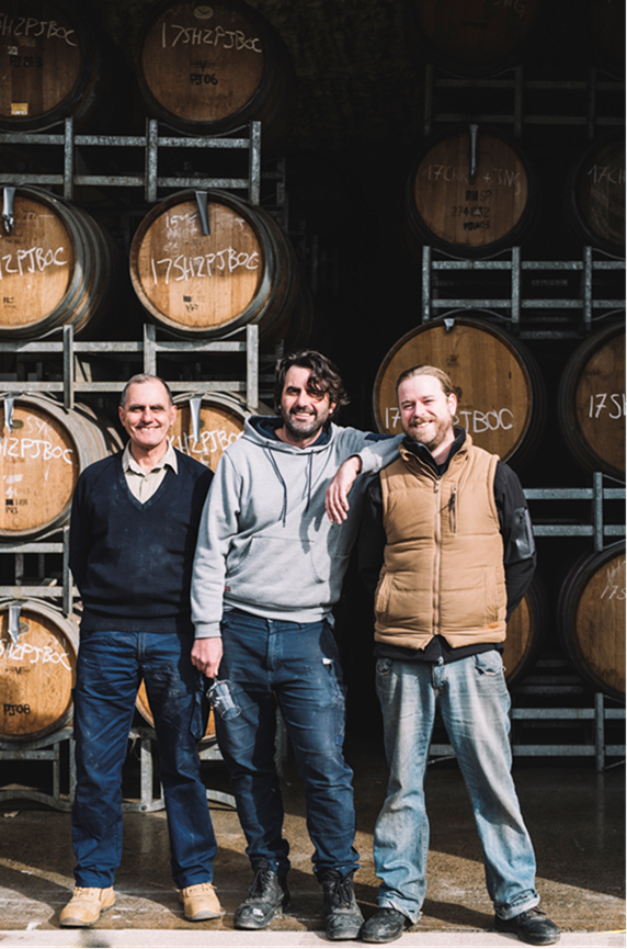 Troy Jones and Behn and Pete Payten at their Yarra Valley winery