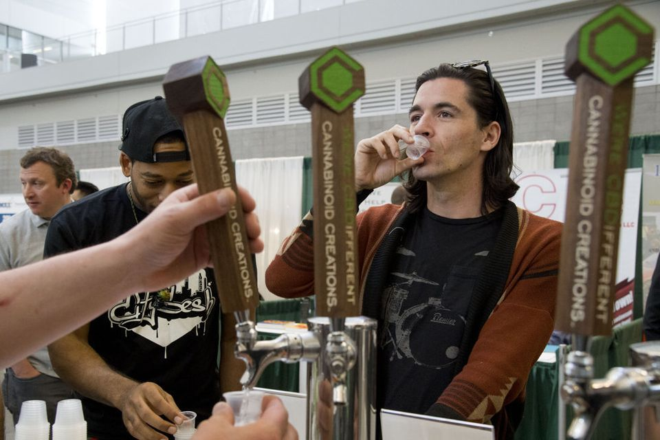 The sight of things to come...cannabis-based drinks poured straight from a tap at a bar...