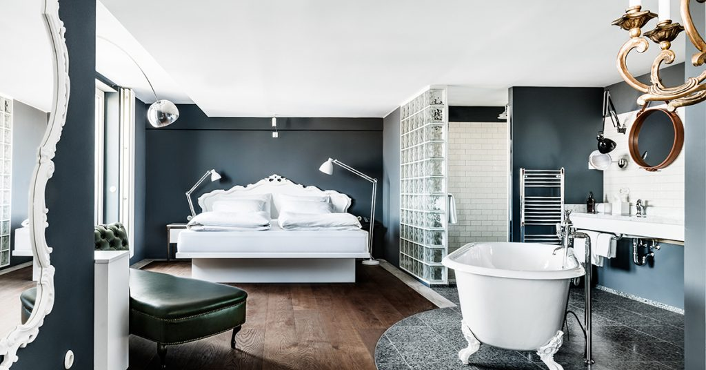 Luxury boutique is the story at Grand Ferdinand in Vienna...or an excuse to have a bath in your bedroom.