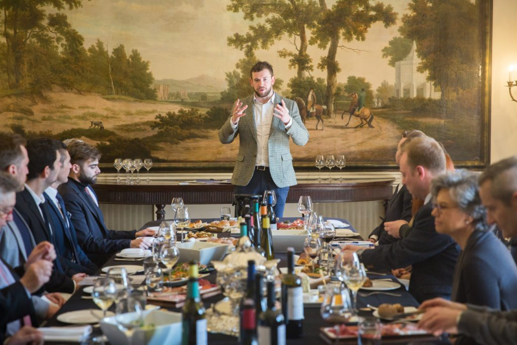 Harry Crowther in his more familiar surrounding hosting a wine lunch for