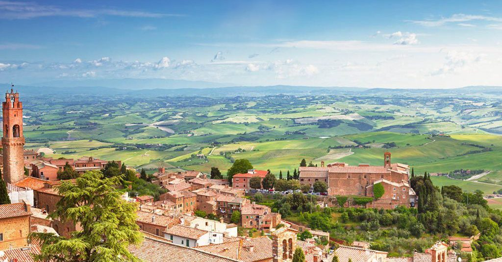 The town of Montalcino overlooks the stunning vineyards at the home of Brunello