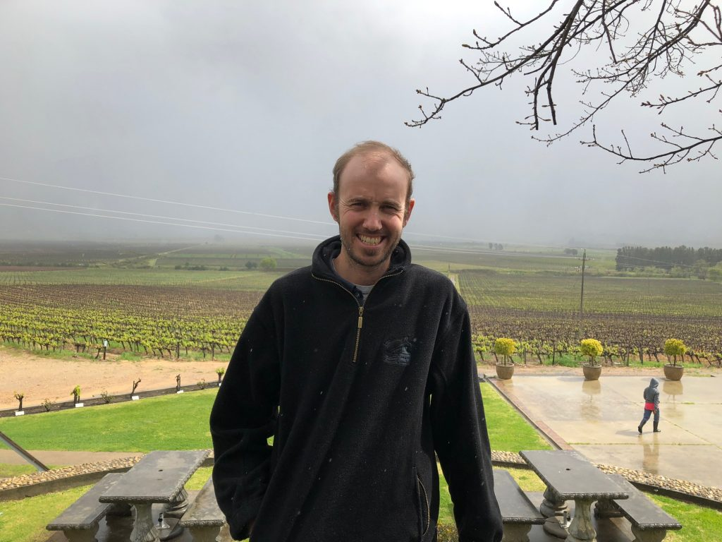 Smiling in the rain: Attie Leow says the Slanghoek Valley has already had above average rainfall