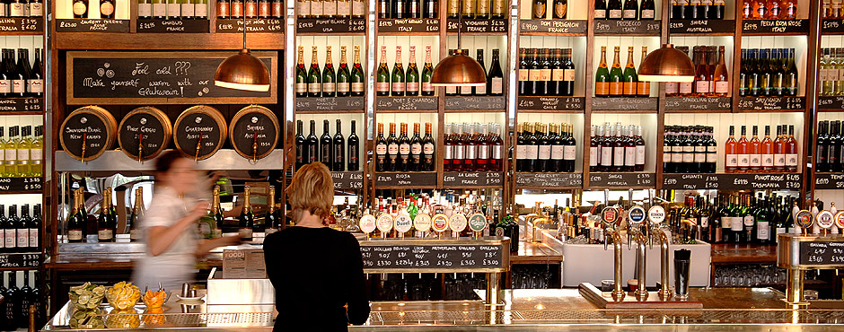 All Bar One's familiar - and effective - wall of wine