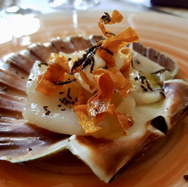 Diver Caught Scallop, Truffles and Crispy Carrot with Cote du Rhône white from Vidal-Fleury