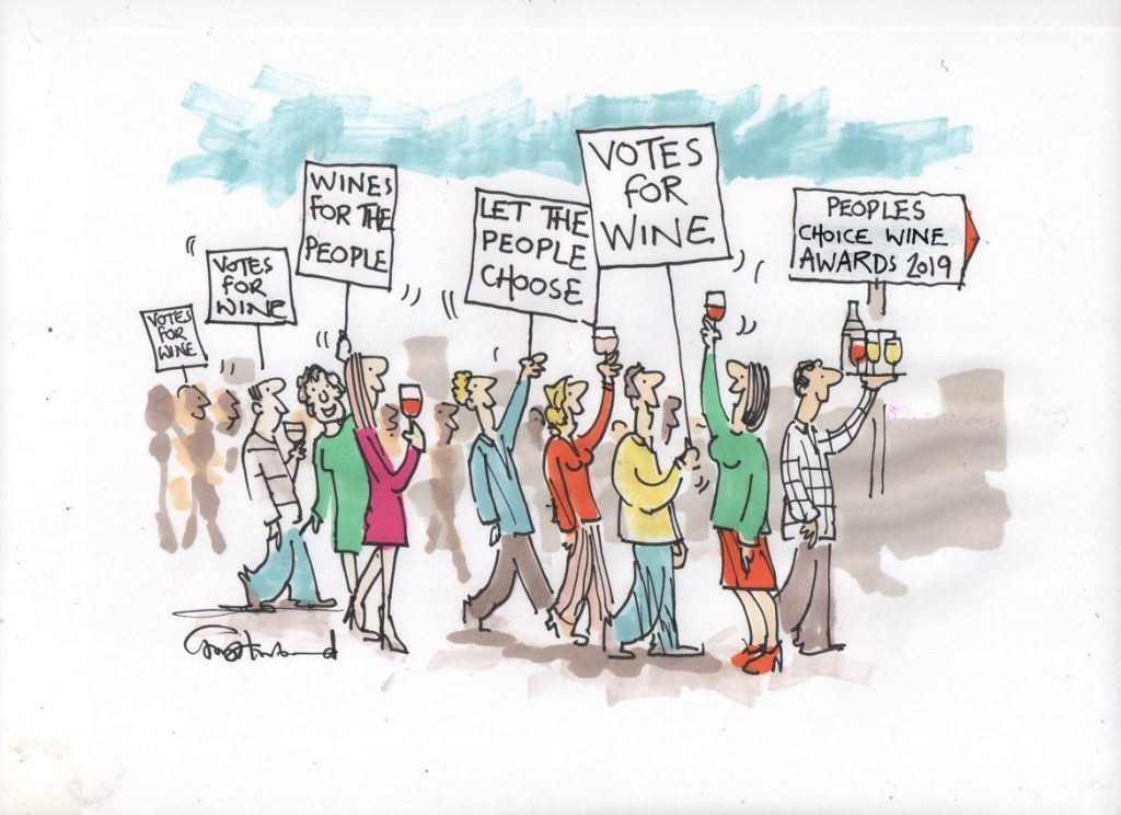 Awards for the people, summed up by Private Eye cartoonist Tony Husband and one of the judges for the People's Choice Wine Awards
