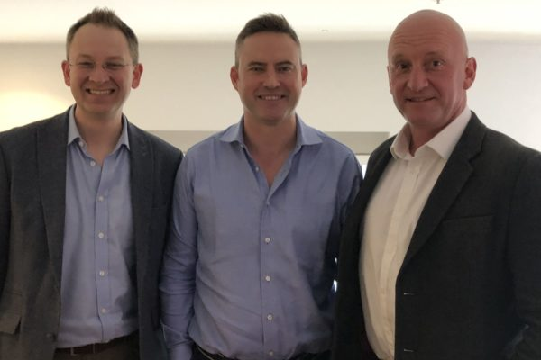 Enotria&Coe's two new on-trade MDs, Sam Thackeray, centre, and Ants Rixon, right with Jon Pepper MW