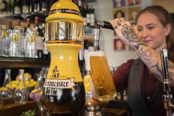 The new look Hofmeister, relaunched as an authentic Bavarian Helles lager made to the 1516 Germany purit laws