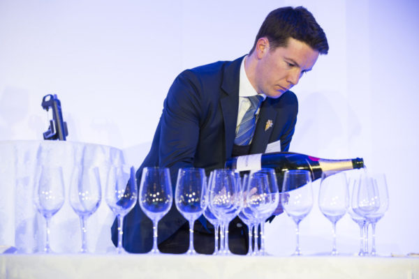 Terry Kandylis in action competing at the UK Sommelier of the Year finals