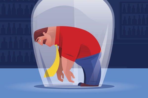 vector illustration of sad businessman heading on drinking glass